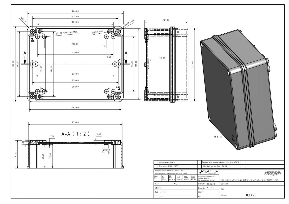 PVC Gehaeuse 280 x 220 x 127 mm Schutzart IP 66