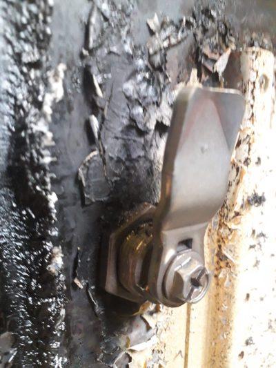 Brandschutzgehäuse Vorreiber nach ca. 30min Beflammung